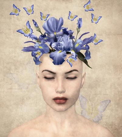 vintage portrait: Surreal vintage portrait of a woman with flowers inside her mind