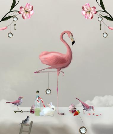 달콤한 테이블에 플라밍고 - 시리즈 원더 랜드