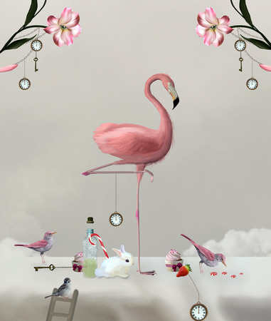 alice: Wonderland series - Flamingo on a sweet table Stock Photo