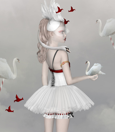 animal tutu: Beautiful portrait of a ballerina with surreal and origami swans Stock Photo
