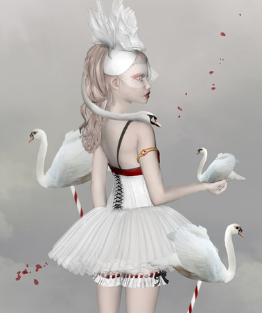 swans: Surreal portrait of a girl with swans Stock Photo