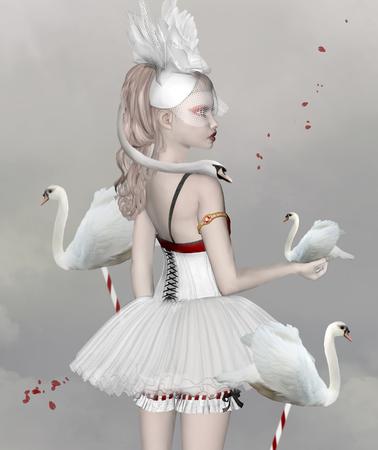 Surrealistische portret van een meisje met zwanen