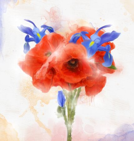 filthy: Poppies and iris bouquet - Oil painting Stock Photo