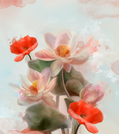water lilies: Water lilies and poppies - Watercolor painting