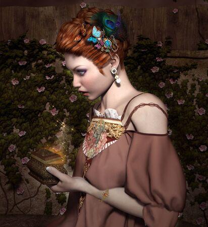 woman art: Woman looks in a magic box Stock Photo