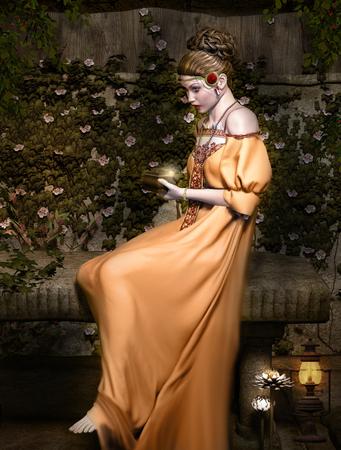 mujeres ancianas: Mujer con vestido naranja Foto de archivo
