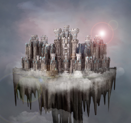 Enchanted fantasy castle over the clouds