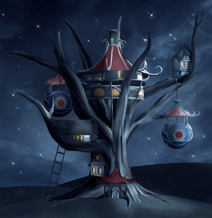 nocturne: Tree house by night Stock Photo