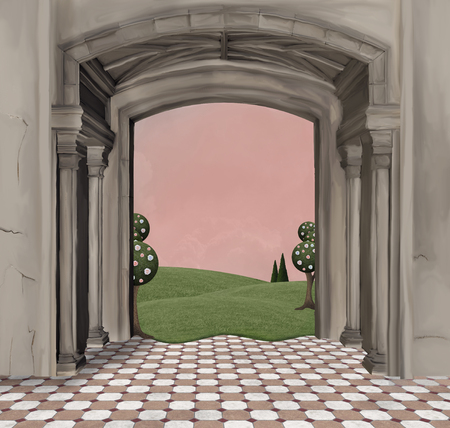 arcs: Architectural background with columns and arcs Stock Photo