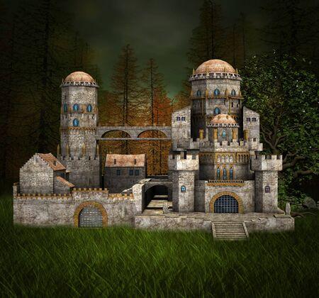fantasy: Ancient fantasy castle Stock Photo