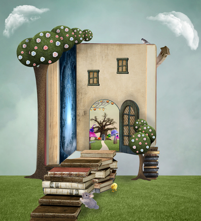 fantasy book: Wonderland series - Books pathway Stock Photo