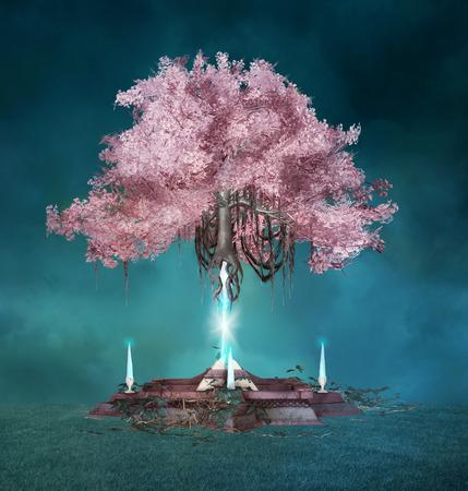 spell: Pink magic tree