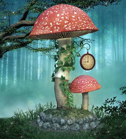 fairytale: Elves enchanted mushrooms place