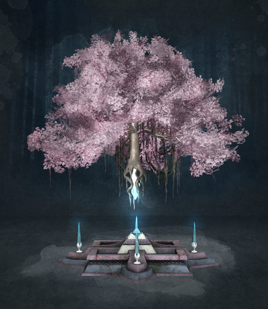 pink and black: Pink fantasy tree on a dark background