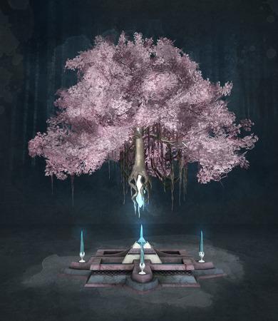 rosa negra: árbol de la fantasía de color rosa sobre un fondo oscuro