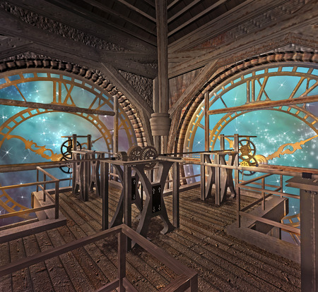 Golden clocks in a steampunk room Imagens