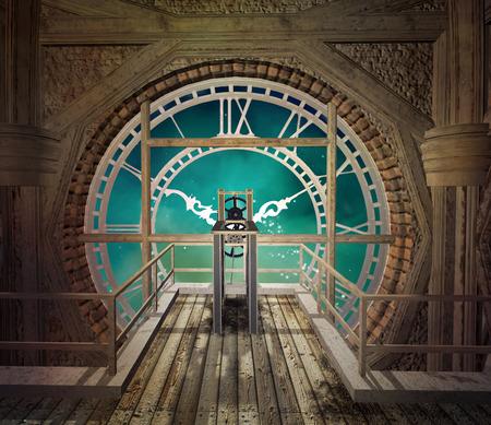 Steampunk clock in an empty room