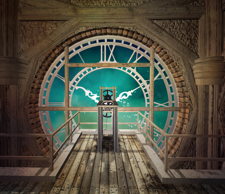 Steampunk klok in een lege ruimte Stockfoto