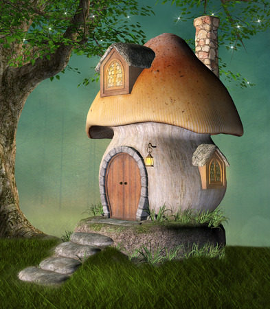 tree house: Little fantasy house in a green meadow
