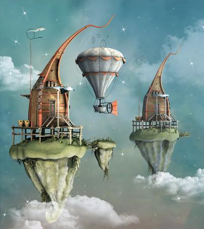 Fantasy flying town