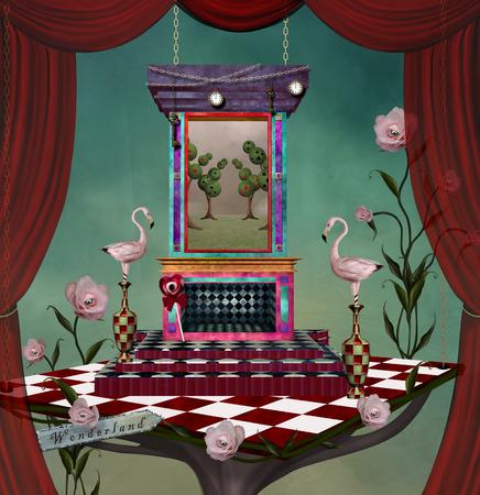 Surrealistisch podium met spullen geïnspireerd op Alice in Wonderland sprookje
