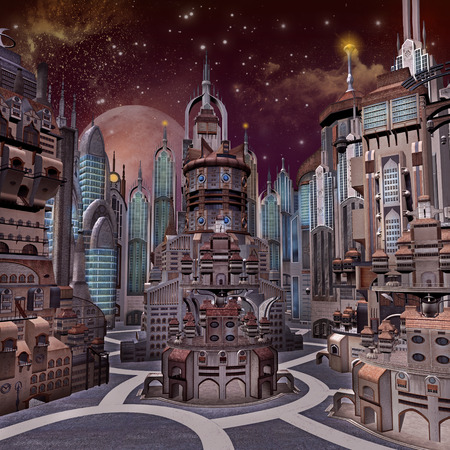 city: Sci-fi city Stock Photo