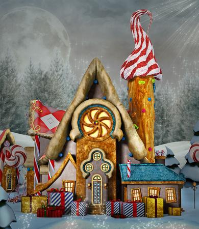 Enchanted peperkoek huis in een winterlandschap