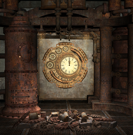 Steampunk clock room