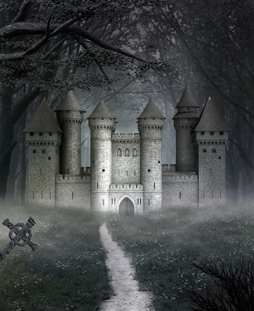 Spooky landscape with castle