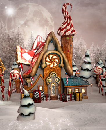 gingerbread: Enchanted gingerbread house Stock Photo