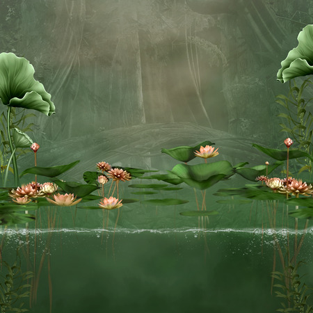 ponds: Fantasy green pond with water lilies and water waterline Stock Photo