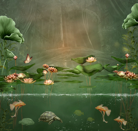 fish water: Fantasy green pond with water lilies and fishes