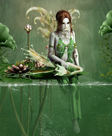 nymph: Green fairy fantasy with little dragon and water lilies