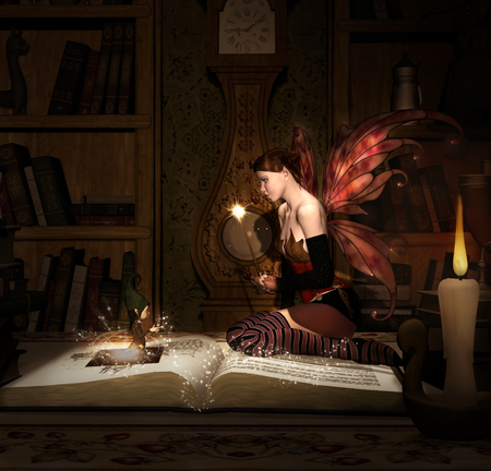 Fairy with magic wand sits on an old book