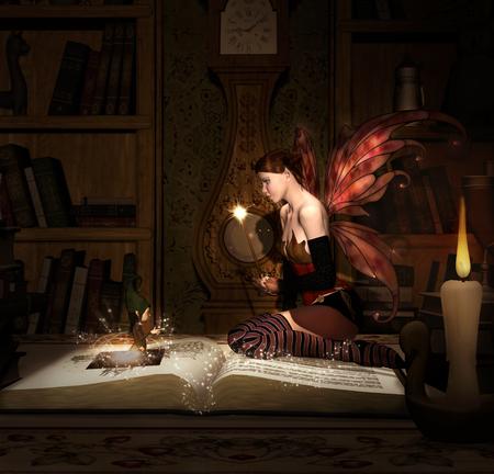 Hada con la varita mágica se sienta en un libro viejo Foto de archivo