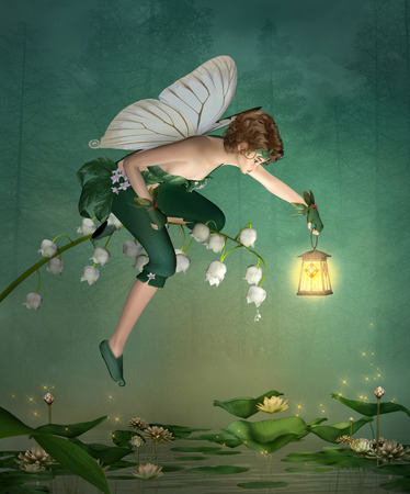 lily of the valley: Little elf with lantern sits on a lily of the valley
