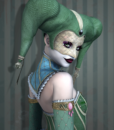 harlequin: Portrait of a beautiful scary harlequin