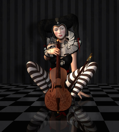 Pierrot with violin Stok Fotoğraf
