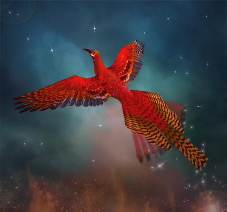 Phoenix vuela por el cielo Foto de archivo - 67665429