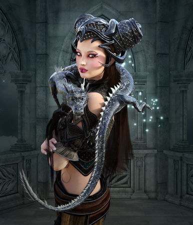 render: Beautiful warrior with dragon