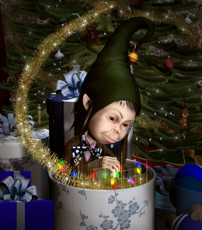 Elf in a christmas box Stock Photo