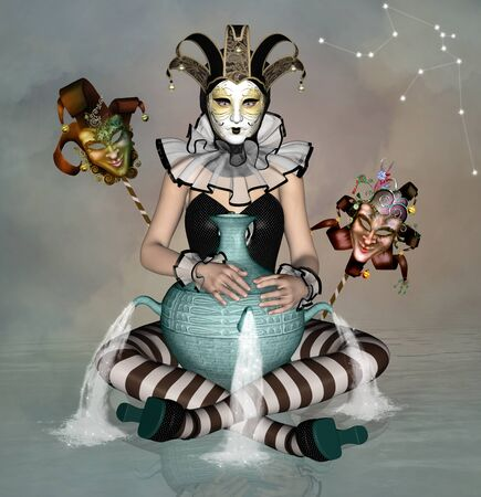 pierrot: Zodiac series - Aquarius like a woman with mask and big vase