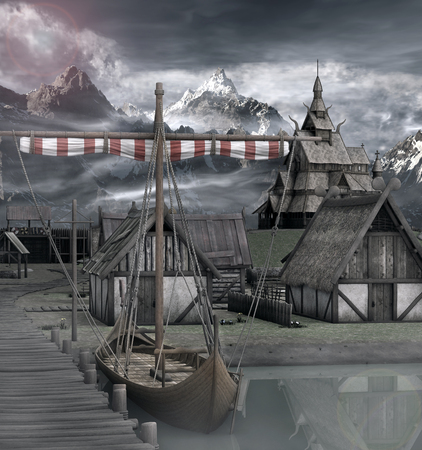 wharf: Ship in an old medieval village Stock Photo