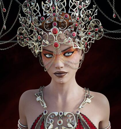 fantasy woman: Fantasy portrait of a woman with crown Stock Photo