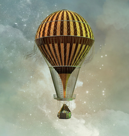 Steampunk montgolfière Banque d'images - 70836643