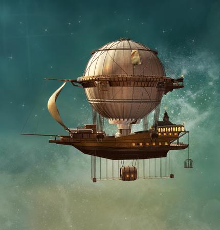 Dirigible de la fantasía steampunk Foto de archivo - 71106243