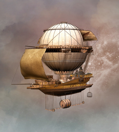 Dirigeable Steampunk Banque d'images