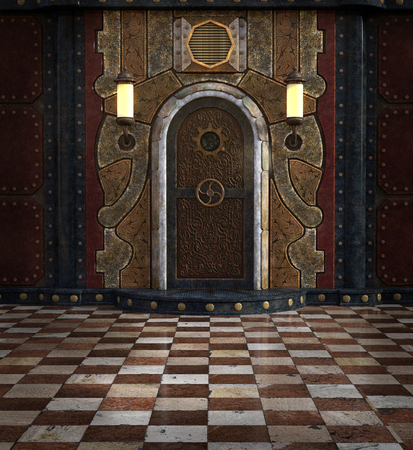 Steampunk door room Stock Photo