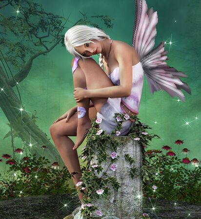 daisy pink: Beautiful fairy sits on a pillar