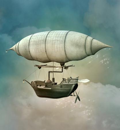 판타지 steampunk 풍선